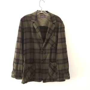 VTG 60s Pendleton oversized plaid blazer green S